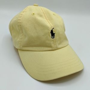Vtg Polo Ralph Lauren Hat Yellow Spellout Pony